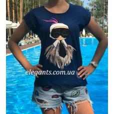 Женская футболка FENDI (Italy) синяя, купить на сайте супермаркета - интернет магазин одежды и нижнего белья «Элегант» Сумы (Украина) - каталог женской одежды Фенди (Италия) коллекции моды (смотреть онлайн видео и фото девушки топ модели)