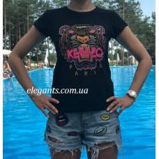 Женская футболка KENZO черного цвета купить, на сайте супермаркета - интернет магазин одежды и нижнего белья «Элегант» Сумы (Украина) - каталог женской одежды коллекции моды (смотреть онлайн бесплатно видео и фото девушки топ модели)