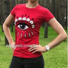Женская футболка KENZO красного цвета - модель глаз купить, на сайте супермаркета - интернет магазин одежды и нижнего белья «Элегант» в Сумах (Украина) - каталог женской одежды коллекции моды (смотреть онлайн бесплатно видео и фото девушки топ модели)