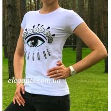 Женская футболка KENZO белого цвета - модель глаз купить, на сайте супермаркета - интернет магазин одежды и нижнего белья «Элегант» в Сумах (Украина) - каталог женской одежды коллекции моды (смотреть онлайн бесплатно видео и фото девушки топ модели)
