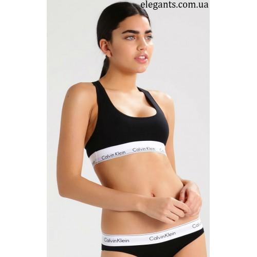 82b4667fddac4 Комплект нижнего белья : женские стринги + майка, черного цвета «Calvin  Klein» (